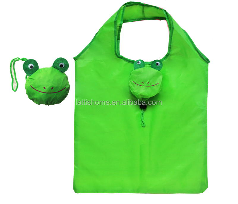 Promotional Cartoon frog Animal polyester Folding Shopping Bag Gift Bag