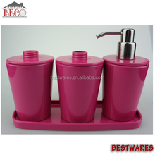 2015 New design nice elegant 4 pieces red melamine bathroom set