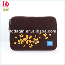 Coffee color with flower printing neoprene laptop padded sleeve