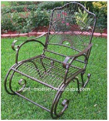 Hierro forjado silla mecedora lmrc 51003 conjuntos de for Mecedoras para jardin