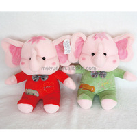 Plush Pink Elephant Stuffed Promotional Toys Wearing Red and Green Dress