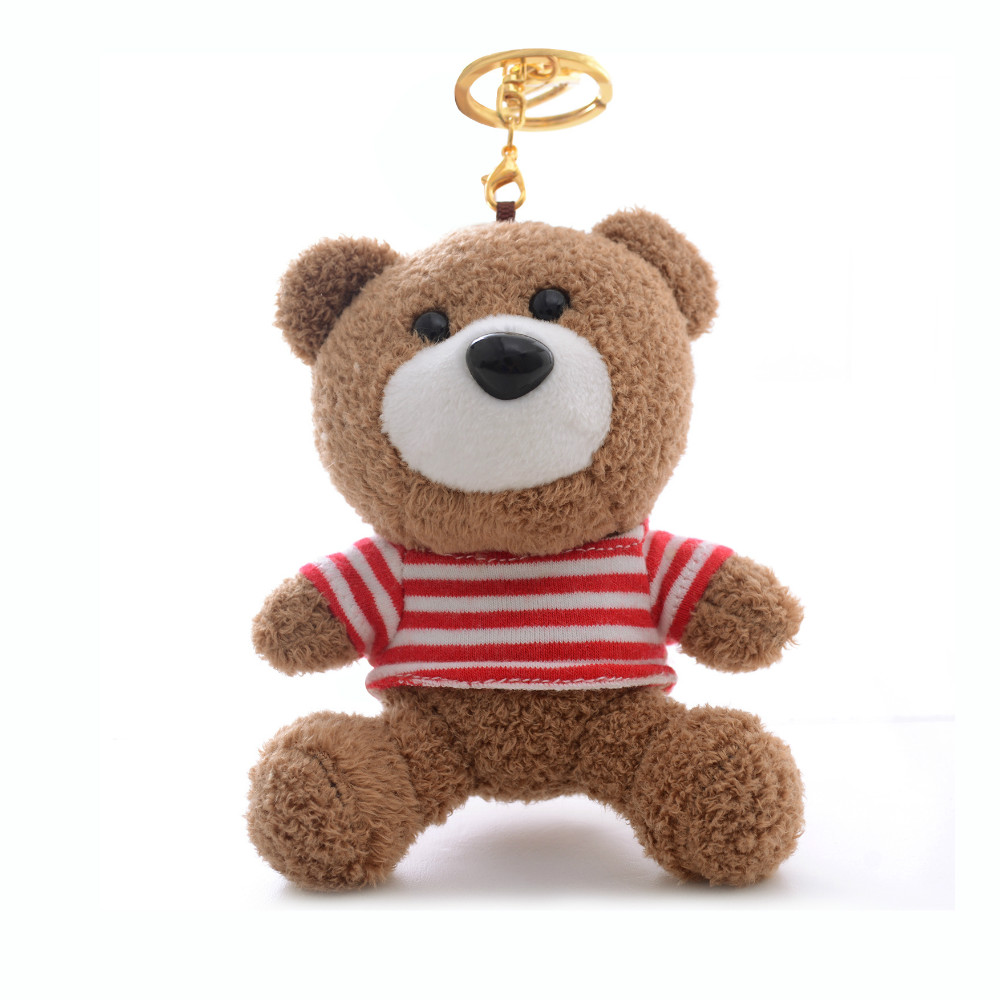 Wholesale newest promotion gifts stuffed animal keychain, keychain manufacturers, plush fur toy bear key chain ring keychain