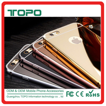 Hybrid Aluminum Metal Bumper Frame mirror phone case for iPhone 5 5s 6 6s 7 plus dustproof shockproof mirror cover case