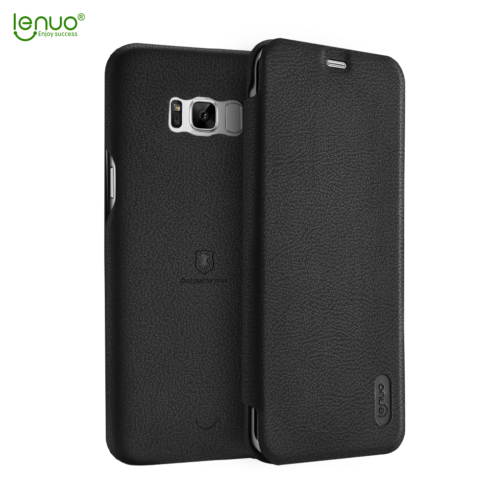 Lenuo soft PU leather flip cover for Samsung Galaxy S8 mobile phone case