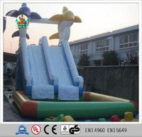 2016 Huaitong blue large fun inflatable water slide with pool