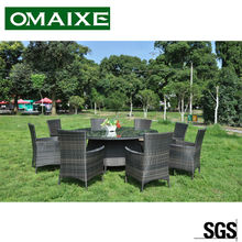 outdoor furniture PE rattan dinning sets round table with 8 chairs