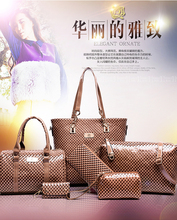 China supplier luxury purses PU leather handbags lady waterproof tote bags 4 sets for women