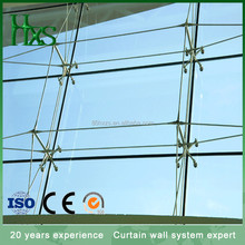 Cable truss/glass fin spider for suspended glass curtain wall