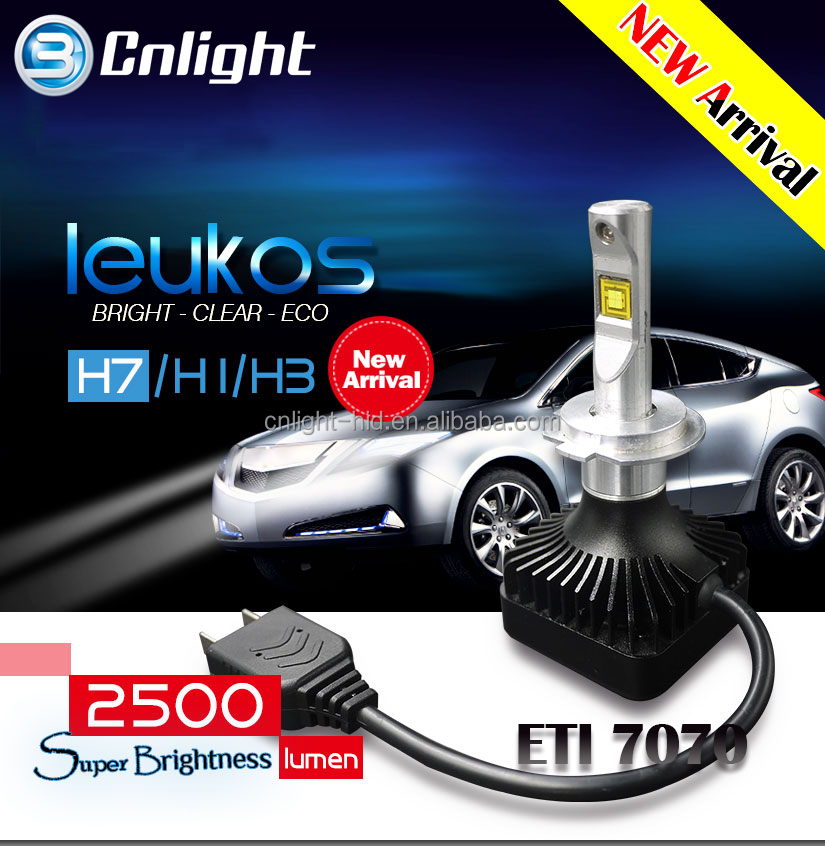 Cnlight New Generation LEUKOS 12v 25W 2500lm Led Car Head bulb replace xenon hid 6500k h7