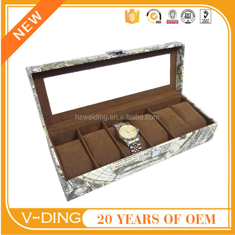 vding from china supplier new premium products 6 Skylights map quality grain leather metal buckle luxury watch box