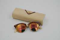 Half bamboo temple sunglasses metal decor