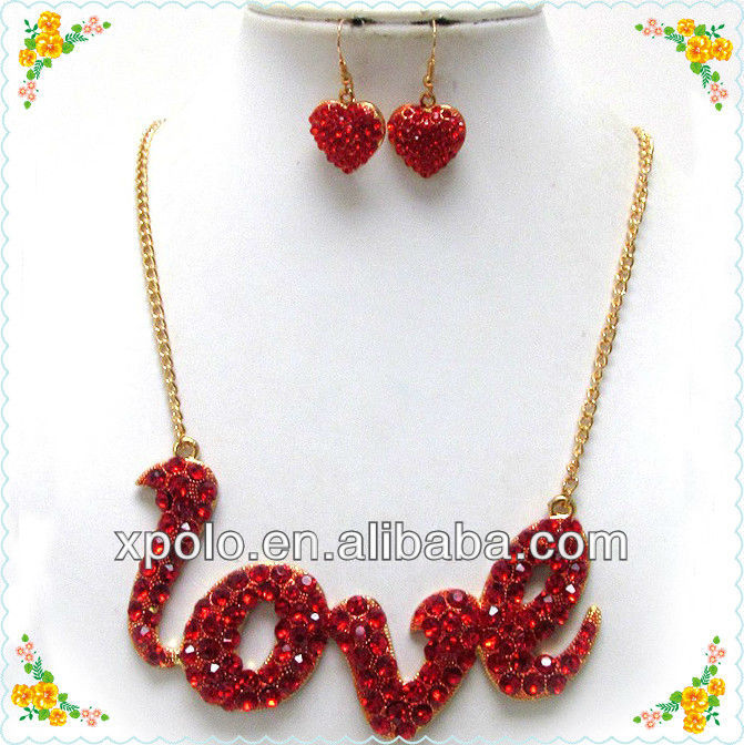 Red Rhinestone/Love Shape/Gold Plated Chain/Heart Drop/Necklace Earrings Set