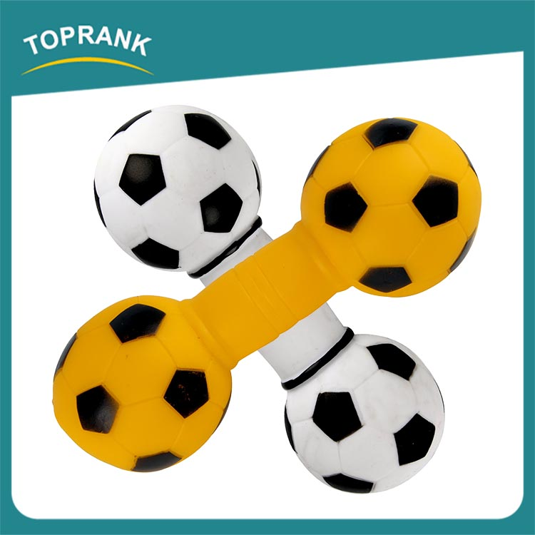 Custom color pet chewing toy small football dumbbell soft vinyl pet toys