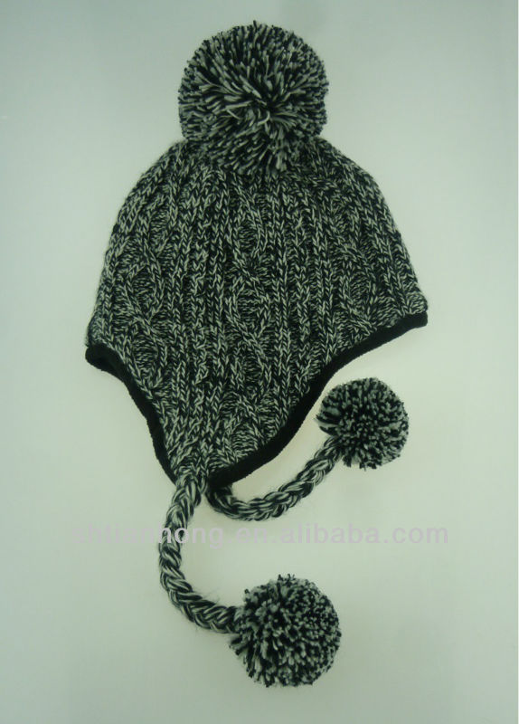 knitted fashion winter hat and cap with top ball