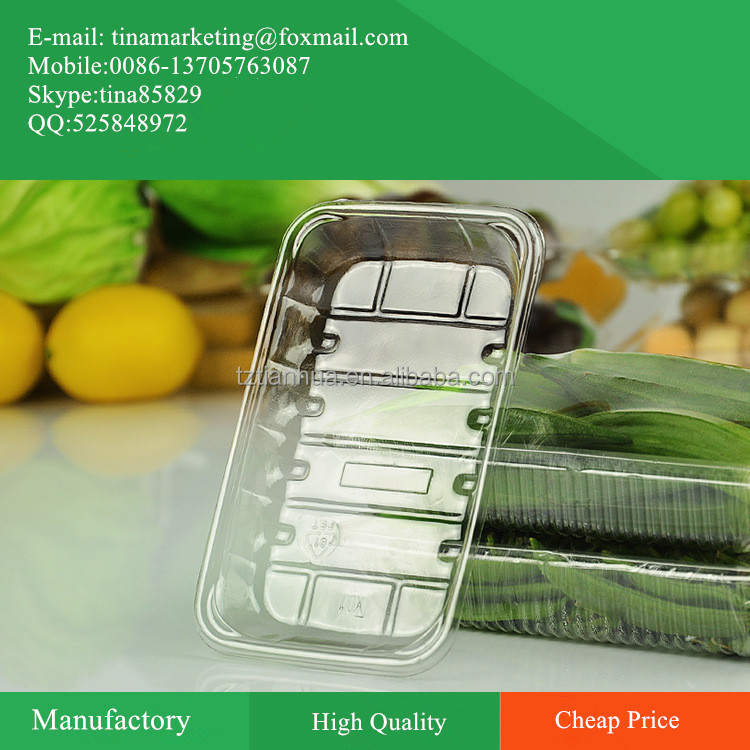 Disposable Trasparent Plastic Supermarket Food Display Tray/ Fresh Fruit and Vegetable Packaging Tray