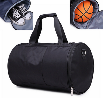 Canvas sports bag custom gym bag with basketball and shoe compartment for men