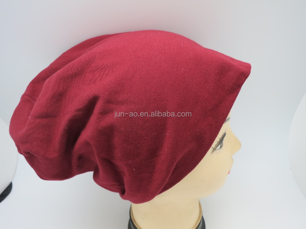 6 panel spandex cotton jersey beanie hat in solid plain color