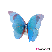 Wholesale Pet Dog Fashion Hair Clips 3D Organza Butterfly Wings with Crystal - BLUE