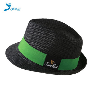 Man black color paper straw fedora hats