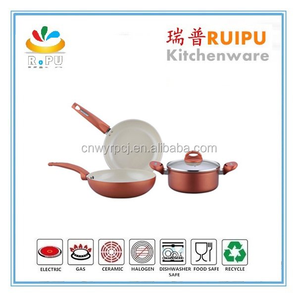 4pcs zhejiang wuyi ceramic aluminum cookware casserole bk,frying pan with color changing handle