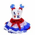 Red White Royal Blue Pettiskirt with LOVE Fireworks White Tank Top