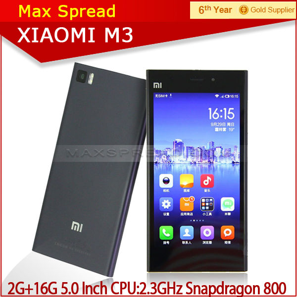 In stock Xiaomi Mi3 MIUI OS 2.3GHz Quad Core Snapdragon 800 5-inch FHD Android Phones alibaba china