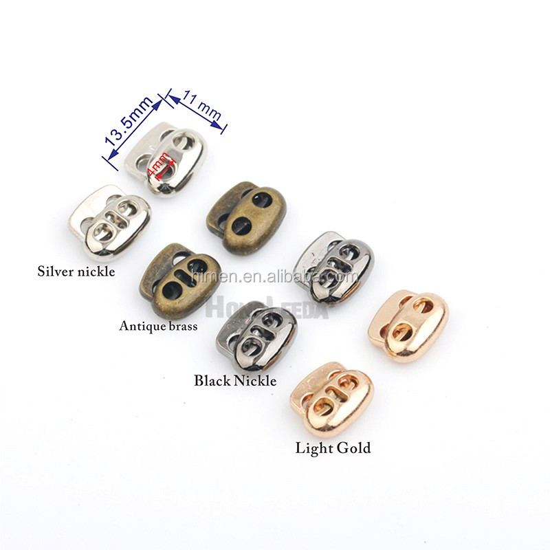 4 colors small oval metal alloy stoppers toggle cord locks Drawstring lock two holes for 3mm bungee cord STP-018