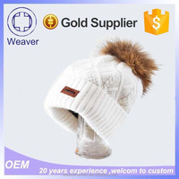 Alibaba Website Pilot Cable Knit Beanie Hat with Raccoon Fur Pom Pom