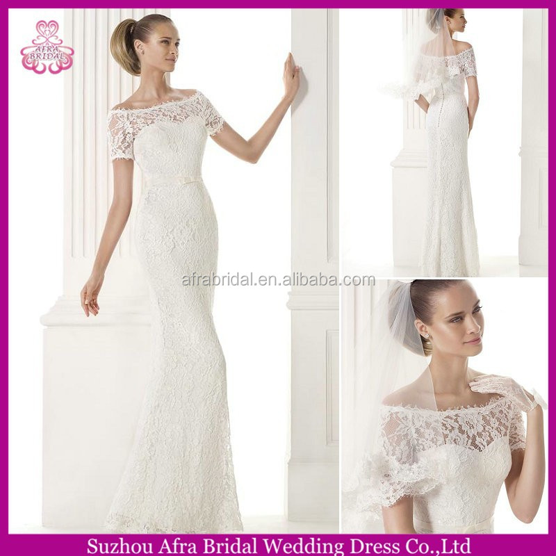 SD1371 off the shoulder lace wedding dresses sheath short sleeve lace wedding gowns