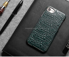 Luxury electroplating Crocodile Embossed genuine Leather Back Cover case for iphone 7