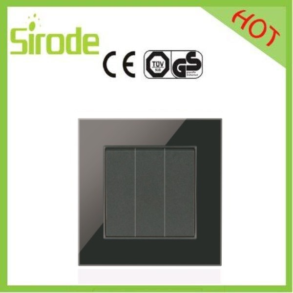 Switch Manufacturers Tempered Glass Black Color Electric 3 Gang Pushbutton Wall Light Switch for home