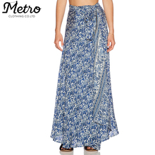 WOMEN PRINT LONG COTTON WRAP AROUND MAXI SKIRT