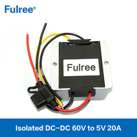 100W Isolated Module DC to DC Vehicle Step Down Converter 48V 60V to 5V 20A Voltage Regulator
