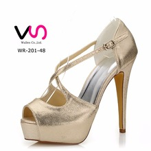 Handmade Very Super high heel sexy pump platform dyeable satin withTrim shoes for wedding WR-201-48 white color