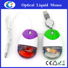 retractable usb cable promotional cheap optical liquid mouse