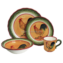 Wholesale Rooster Hand-painted 16-piece ceramic stoneware dinnerware set