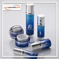 Stylish cylinder with circular ring collar PETG, SAN, PET airless and lotion bottle