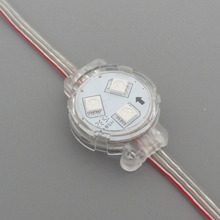 DC12V 30mm WS2811;addressable led smart module;0.72W;RGB full color;clear cover;IP68 rated;with clear wire