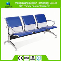 BT-ZC002 Cheap three seater public waiting chair, steel hospital waiting chairs with cushion