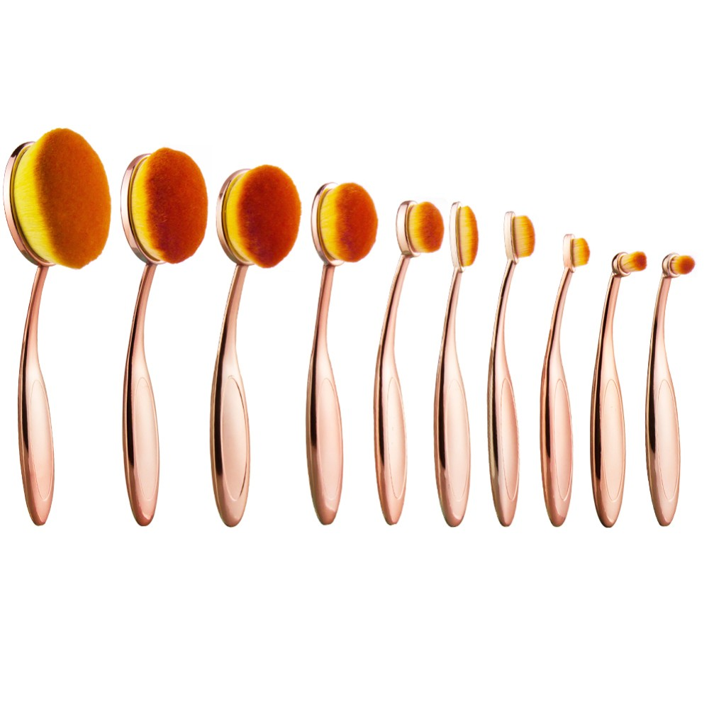Haokey Gold color 10pcs Foundation private label toothbrush makeup brushes