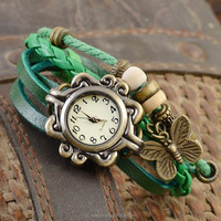 Butterfly Fashion Lady Watch Leather Wrap Band Watches