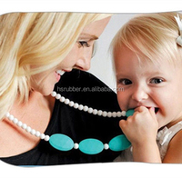 Chewable Teething Necklace Silicone safe for baby Beads Nursing necklace teether, Silicone Breastfeeding Nursing Necklace Teeth