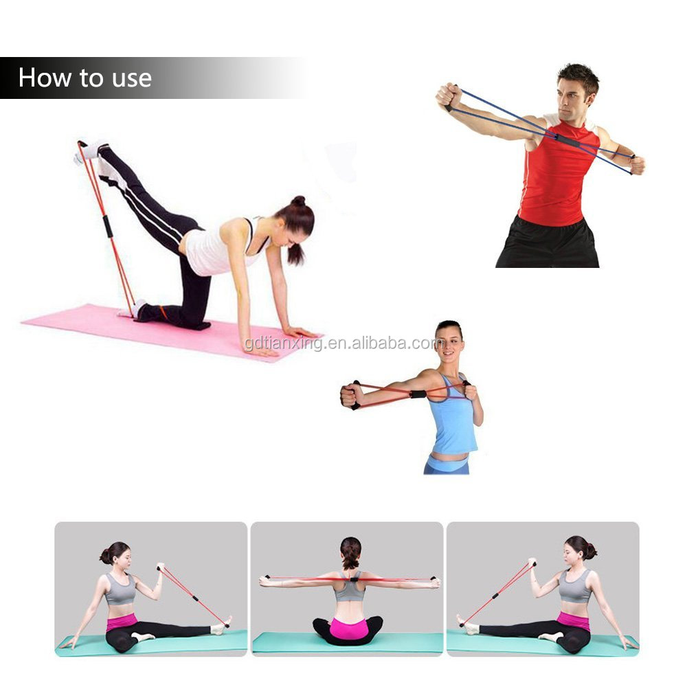 Alibaba Golden Supplier Tianxing Sports Wholesales Fitness Yoga Resistance Band 8 Shape Pull Rope Tube Equipment