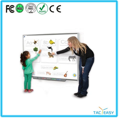 Digital interactive clever smart board with four users writing