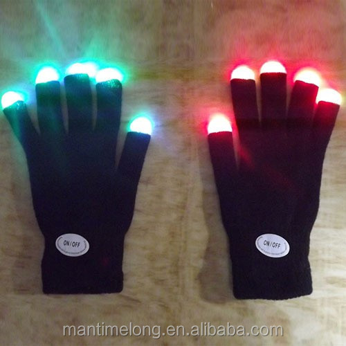 Flashing Fingertip lighting gloves led Mittens Costumes Rave Party Skating Riding