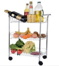 3 Tiers Chrome Finished Stainless Steel Mesh Wire Kitchen Storage Rolling Cart Trolley Organizer Shelves