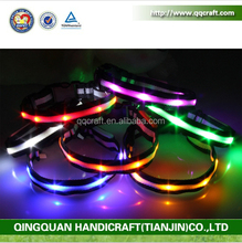 Nylon Printed Webbing Retractable Light Led Puppy Collar For Dog Lead