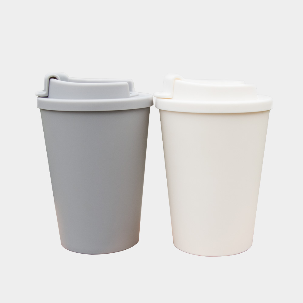 Shenzhen Made 450ml Double Wall PP Plastic Coffee Cup With Flat Lid
