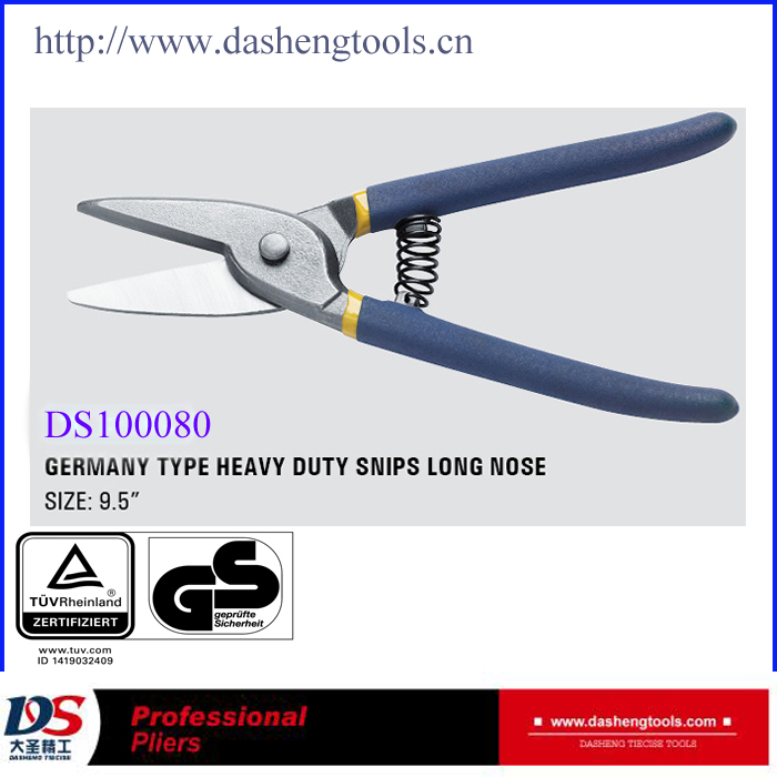 Germany type heavy duty tin snips long nose Metal Cutting Scissors DS100080