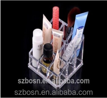 12 Grid transparent high quality acrylic cosmetic counter display stand with counter dispaly stand for sale